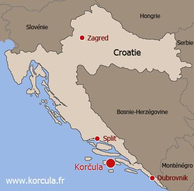Carte Croatie Et Alentours.L Ile De Korcula Croatie