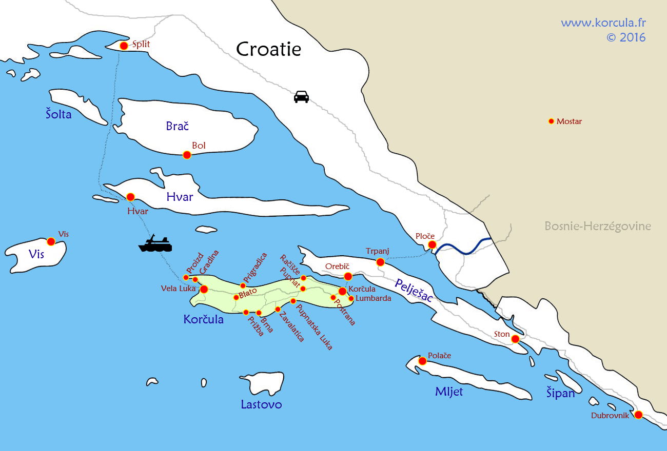 Situation Geographique De Lile Korcula